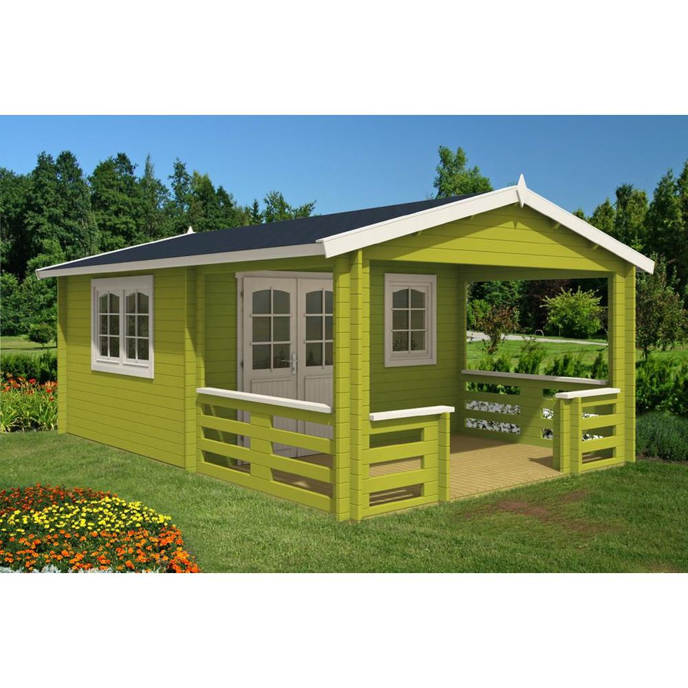 EZ Log Structures Montana 12 ft. 5 in. x 18 ft. 10 in. Log Garden House with 12 ft. 5 in. x 7 ft. Porch