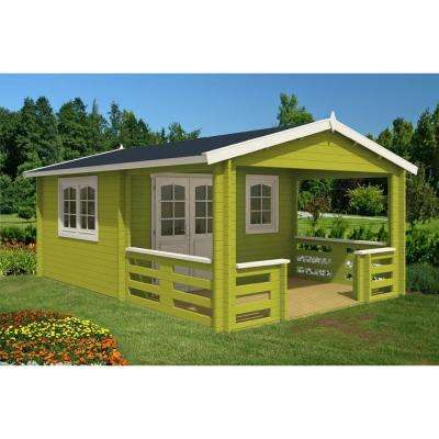 Montana 12 ft. 5 in. x 18 ft. 10 in. Log Garden House with 12 ft. 5 in. x 7 ft. Porch