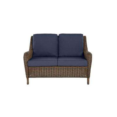 Cambridge Brown Wicker Outdoor Patio Loveseat with Standard Midnight Navy Blue Cushions