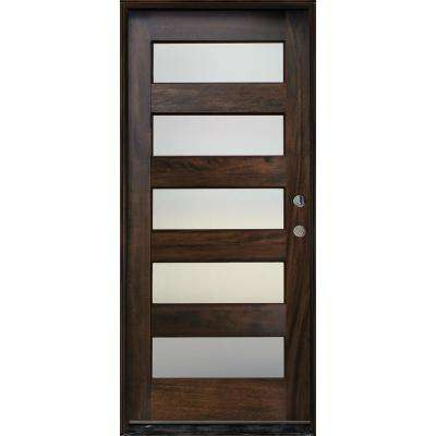 36in. x 80in. Contemporary Espresso Left Hand Inswing 5- Lite Mistlite Stained Mahogany Wood Prehung Front Door