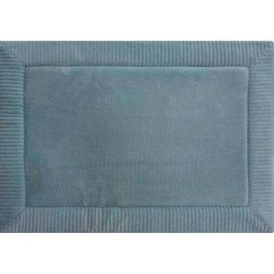 Spa Retreat Border Blue 17 in. x 24 in. Memory Foam Bath Mat