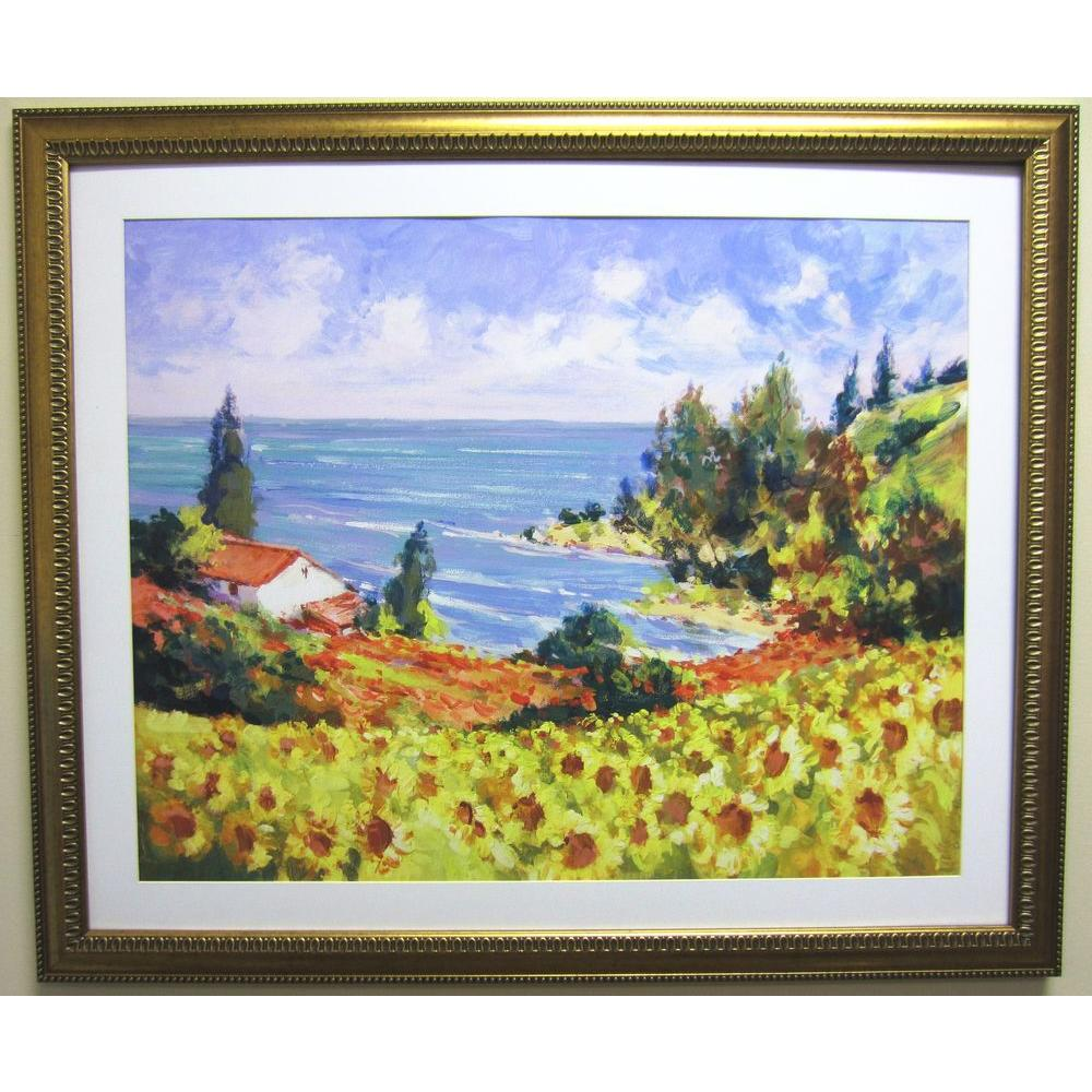null 31 in. x 26 in. Ocean Landscape Matted Framed Wall Art