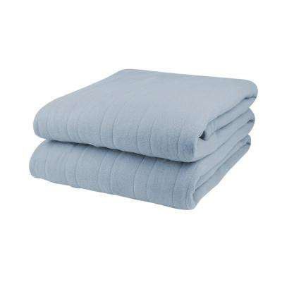 1000 Series 62 in. x 84 in. Cloud Blue Twin Size Comfort Knit Heated Blanket
