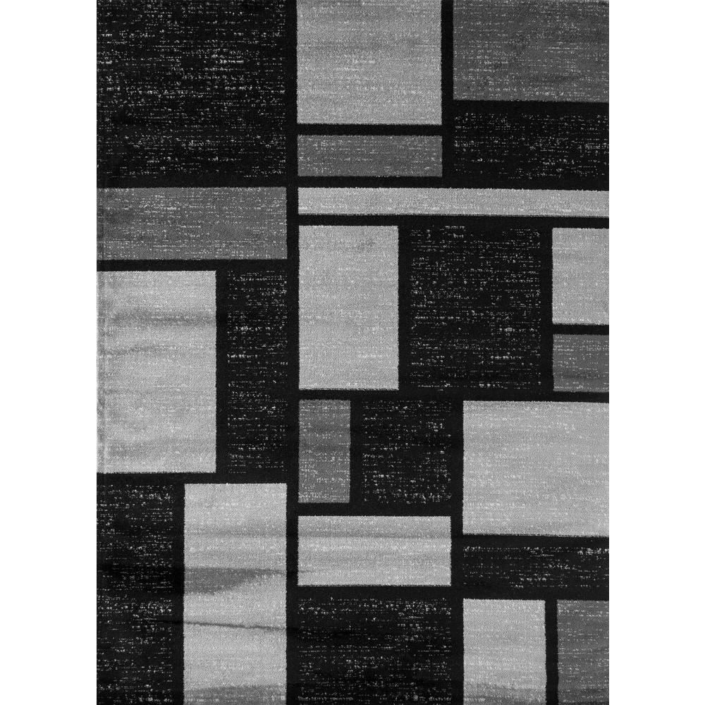 World Rug Gallery Contemporary Modern Boxes Design Gray 3