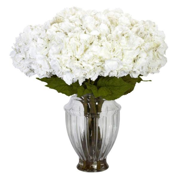 Nearly Natural 23 in. H White Large Hydrangea with European Vase