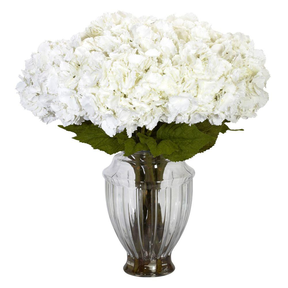 Nearly Natural 23 in. H White Large Hydrangea with European Vase Silk Flower Arrangement