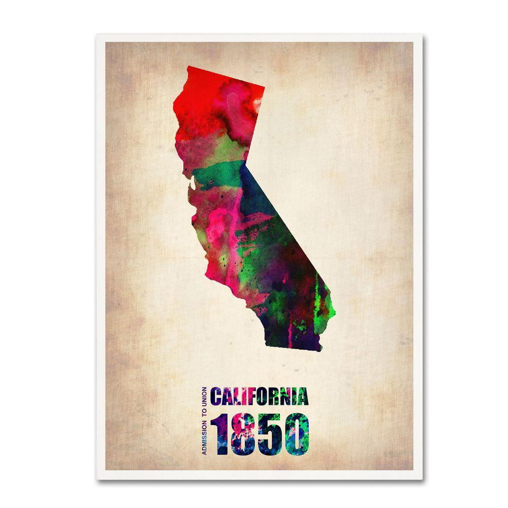 null 24 in. x 18 in. California Watercolor Map Canvas Art