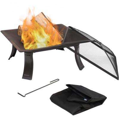 On-The-Go 26 in. x 11 in. Round Steel Wood Burning Fire Pit with Spark Screen and Carrying Case
