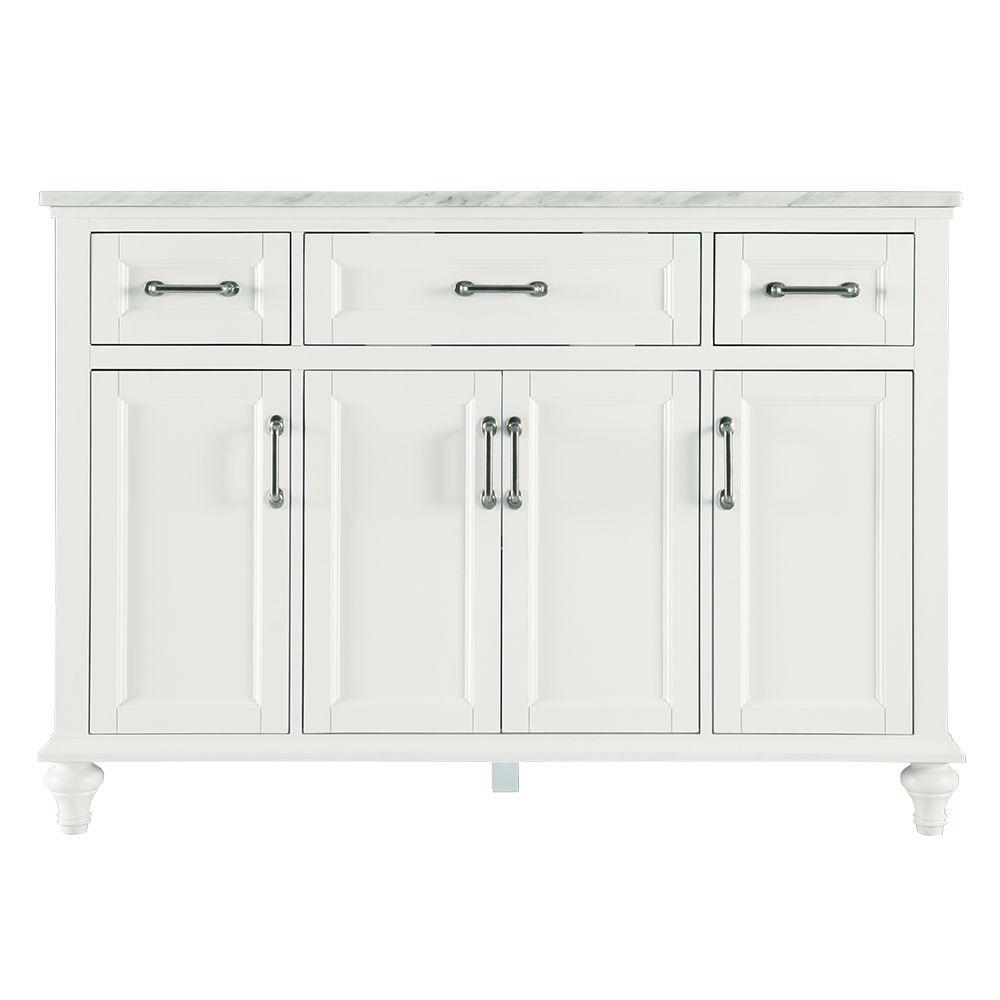 Home Decorators Collection Charleston 49 in. W x 22 in. D Bath Vanity in White with Marble Vanity Top in Carrara White