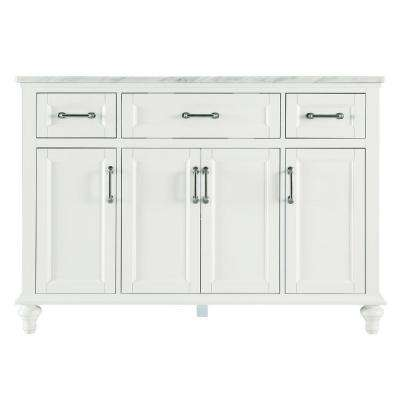 Charleston 49 in. W x 22 in. D Bath Vanity in White with Marble Vanity Top in Carrara White