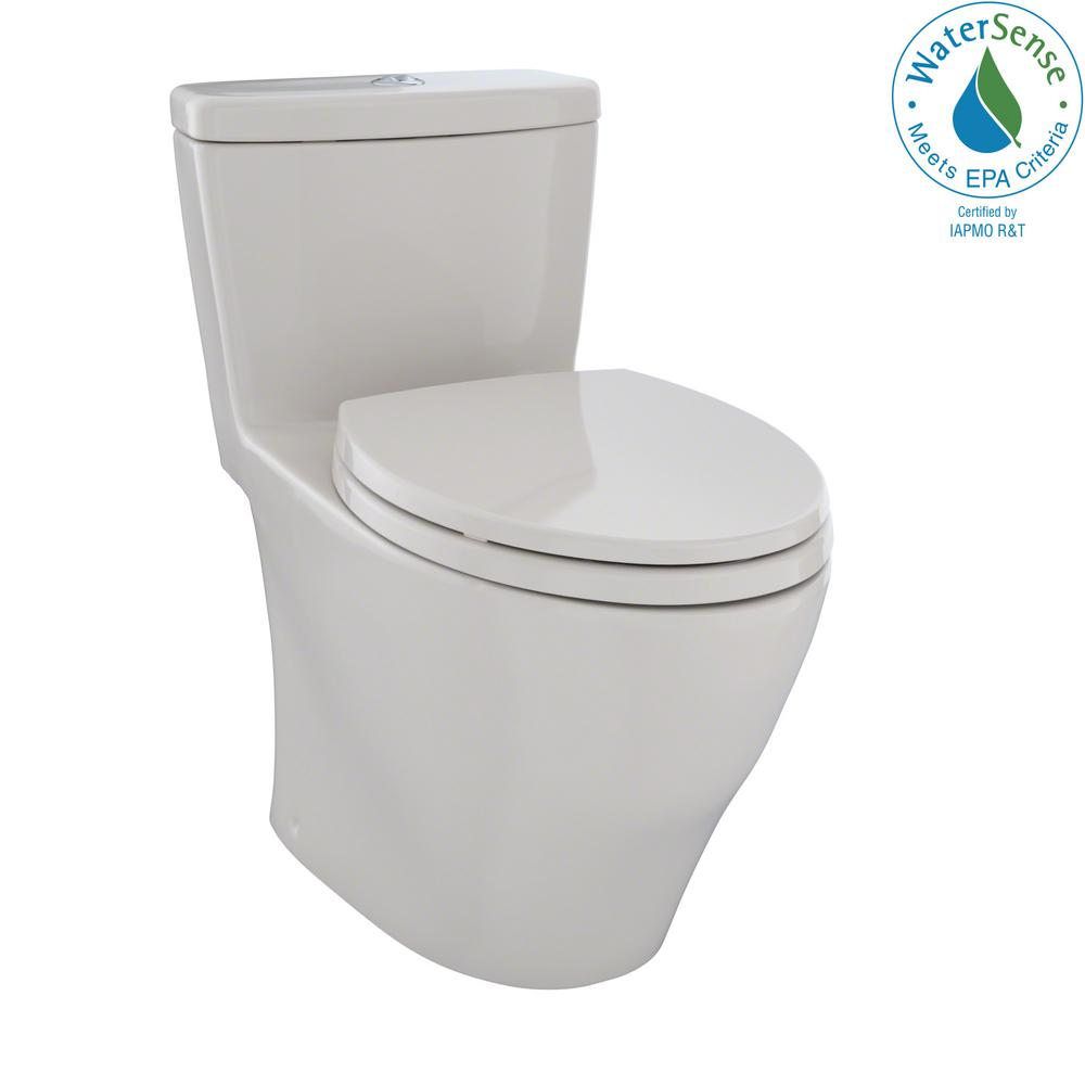 TOTO Aquia 1-Piece Elongated 0.9/1.6 GPF Dual Flush Skirted Toilet ...