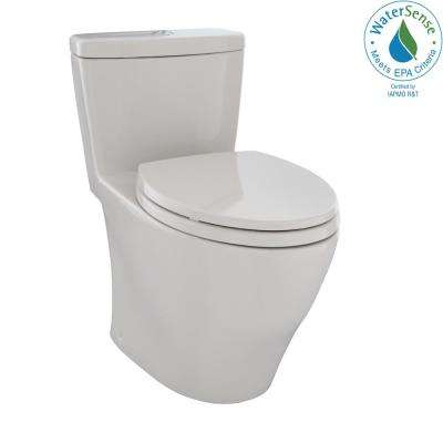 Aquia 1-Piece Elongated 0.9/1.6 GPF Dual Flush Skirted Toilet in Sedona Beige