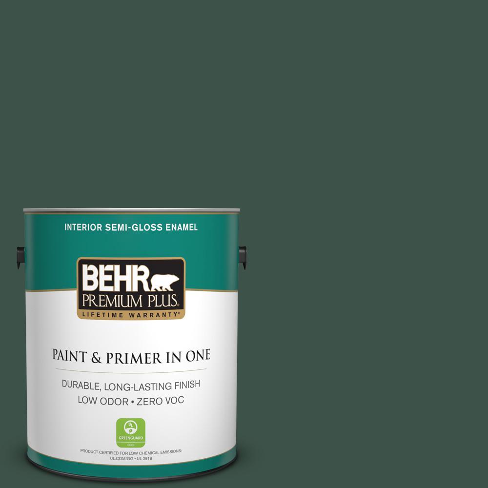 BEHR Premium Plus 1-gal. #470F-7 Deep Jungle Zero VOC Semi-Gloss Enamel Interior Paint