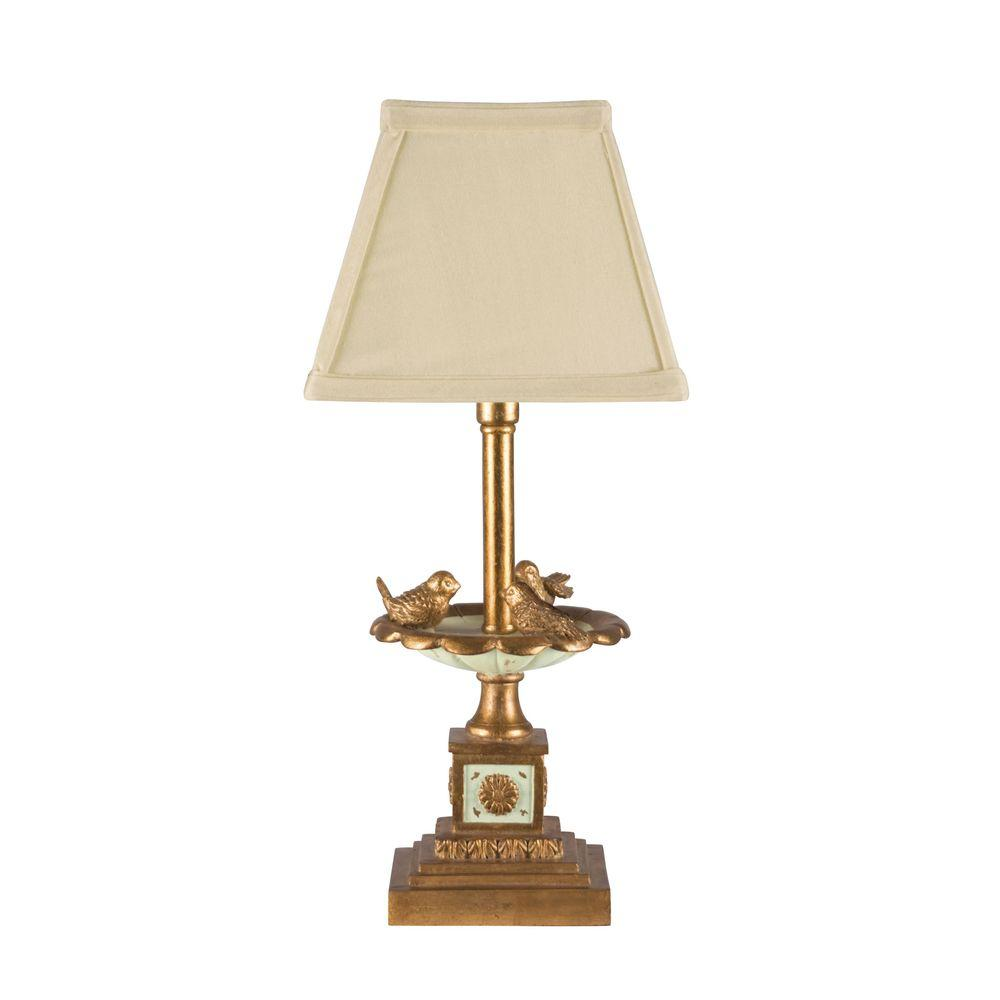 Beautiful Titan Lighting Bird Bath 15 In. Gold Leaf And Green Table Lamp