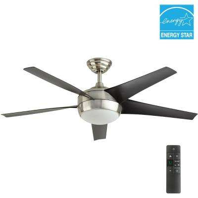 Windward IV 52 in. Integrated LED Indoor Brushed Nickel Ceiling Fan with Light Kit and Remote Control