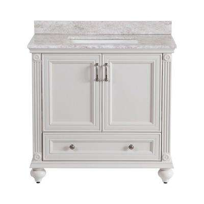 Annakin 36 in. W x 34 in. H x 22 in. D Bath Vanity in Cream with Stone Effects Vanity Top in Winter Mist