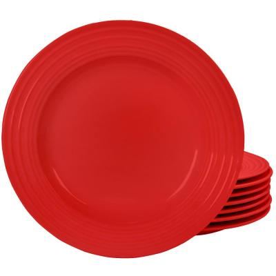 Plaza Cafe Red Dinner Plate Set (Set of 8)
