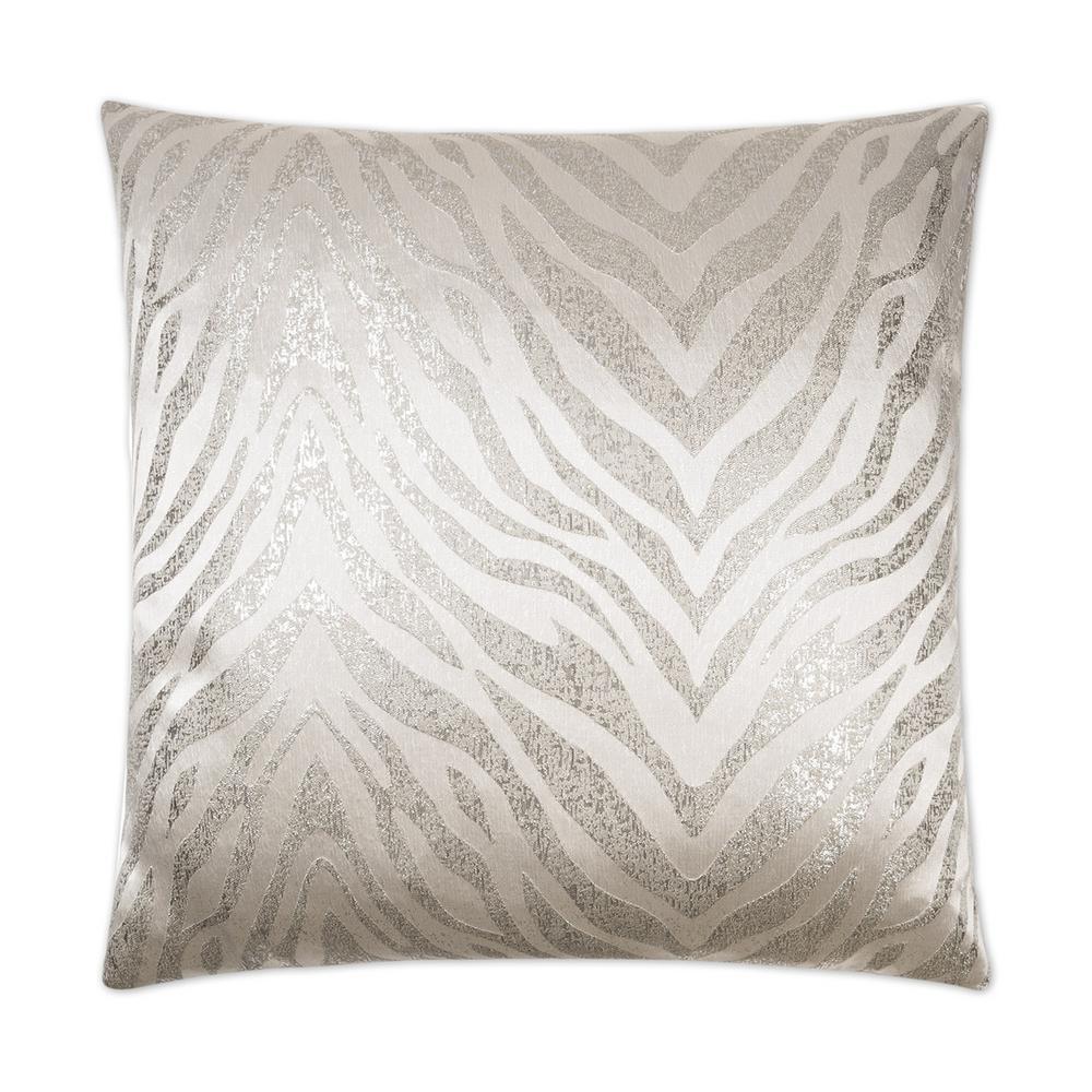 Metallic White Geometric Down 24 in. x 24 in. Throw Pillow