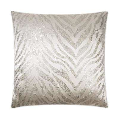 Metallic Zebra Feather Down 24 in. x 24 in. Standard Decorative Throw Pillow