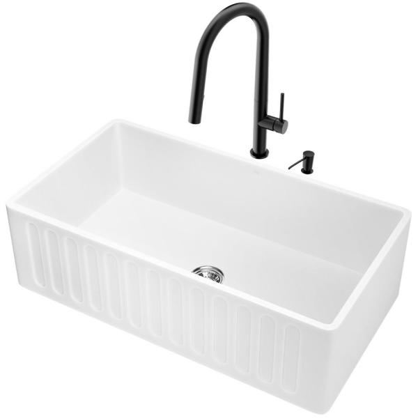 Vigo All In One Farmhouse Apron Front Matte Stone 33 In Single Bowl Kitchen Sink And Faucet Set In Matte Black Vg15755 The Home Depot