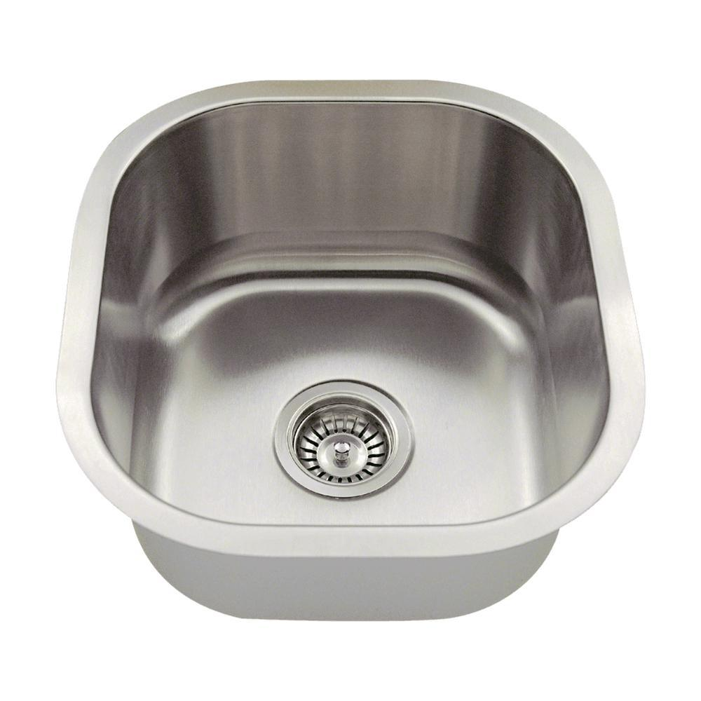MR Direct Undermount Stainless Steel 16 In. Single Bowl Bar Sink 1716 16    The Home Depot
