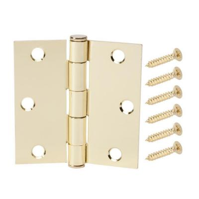 3-1/2 in. Satin Brass Square Corner Door Hinge