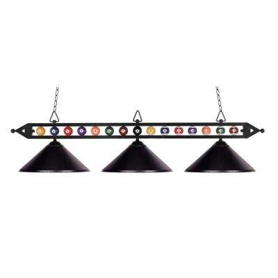 3-Light Ceiling Mount Matte Black Island Light