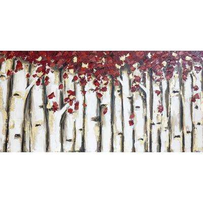 "30 in. x 60 in. ""Ruby Birch"" by Jade Printed and Painted Canvas Wall Art"