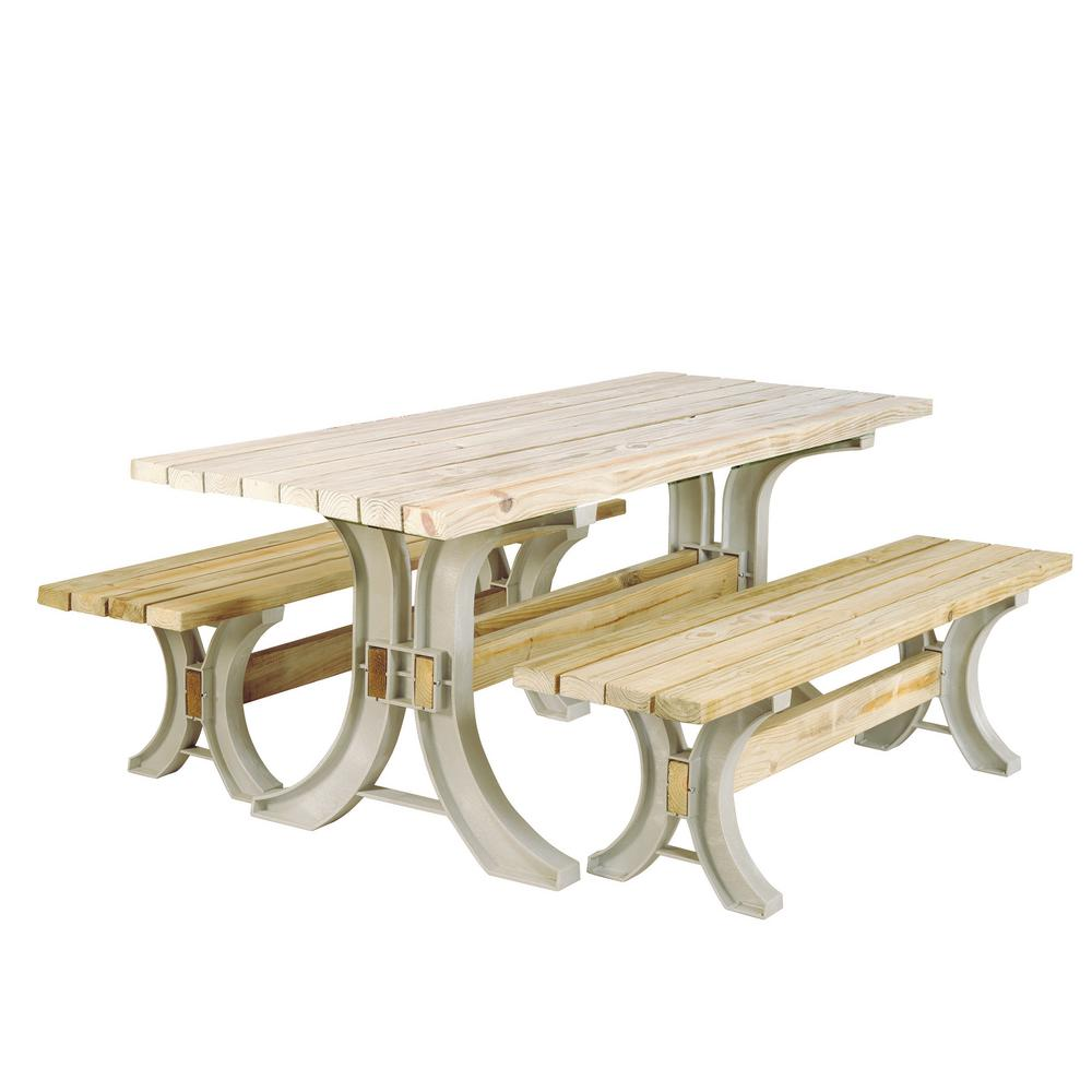 X Basics Picnic Table Kit In Sand The Home Depot - Home depot picnic table bench