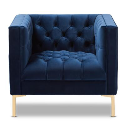 Zanetta Blue Fabric Upholstered Lounge Chair