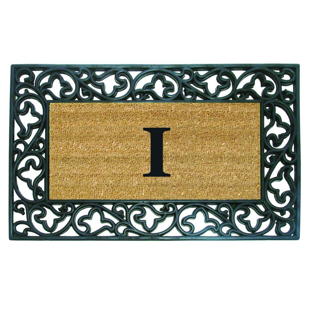 Acanthus Border 22 in. x 36 in. Rubber Coir Monogrammed I