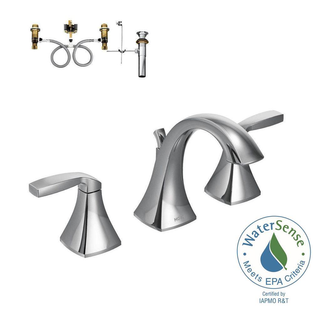 MOEN Voss 8 in. Widespread 2-Handle High-Arc Bathroom Faucet Trim ...