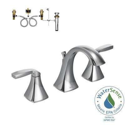 Voss 8 in. Widespread 2-Handle High-Arc Bathroom Faucet Trim Kit with Valve in Chrome