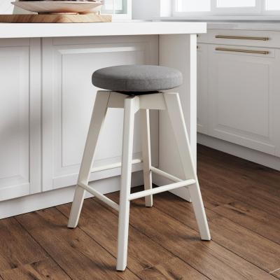 Amalia 26 in. Dark Gray Backless Counter Height 360° Swivel Upholstered Seat with White Solid Wood Kitchen Bar Stool