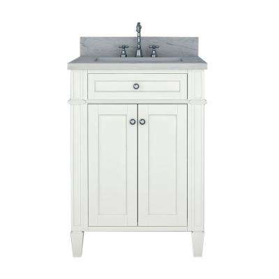 Samantha 24 in. W x 22 in. D Bath Vanity in White with Marble Vanity Top in White with White Basin