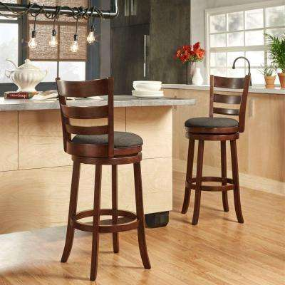 Armistead 29 in. Cherry Swivel Cushioned Bar Stool
