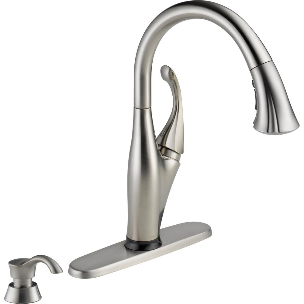 Delta Addison Single-Handle Pull-Down Sprayer Kitchen Faucet with Touch2O  Technology and Soap Dispenser in Stainless