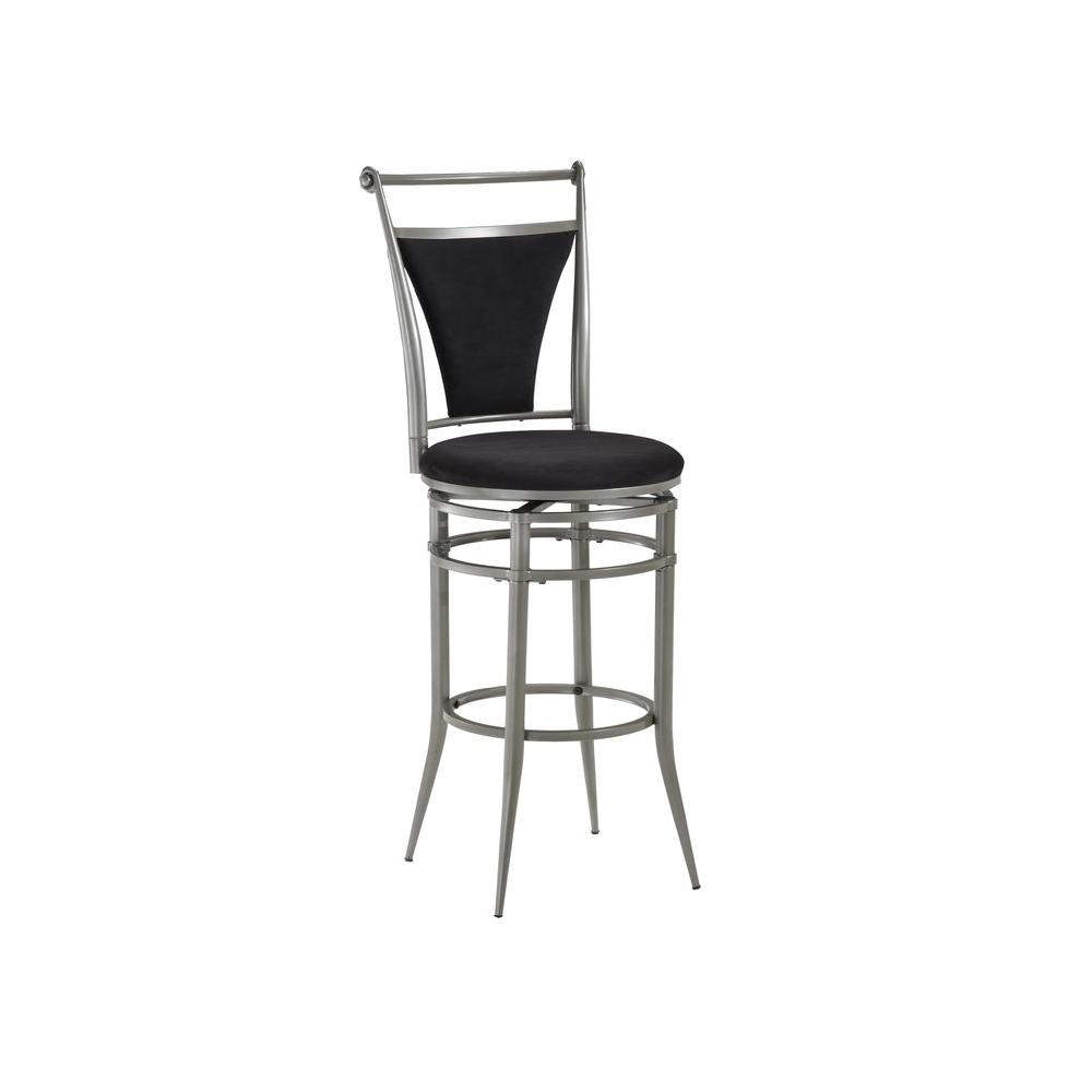 Hillsdale Furniture Cierra 30 in. Pewter Swivel Cushioned Bar Stool