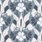 Mitchell Black Debut Collection Dragon Flower in White/Grey/Blue Removable and Repositionable Wallpaper