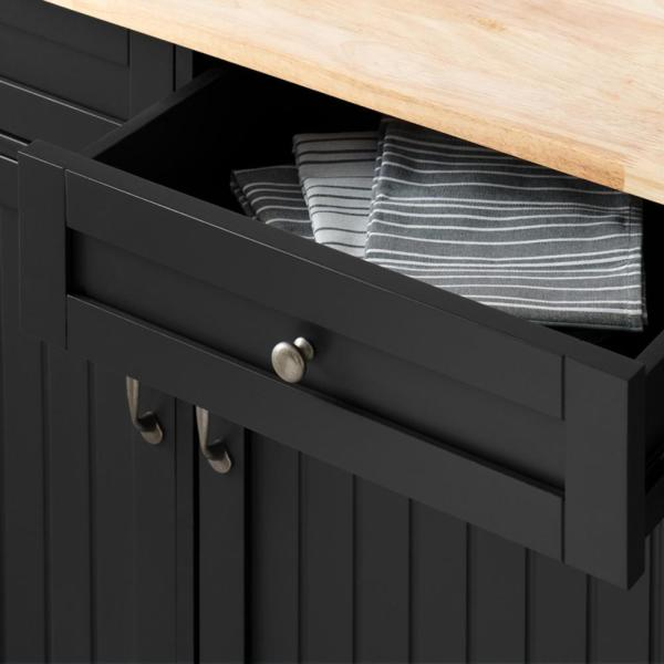 Stylewell Bainport Black Kitchen Cart With Butcher Block Top Sk19238e2r1 B The Home Depot