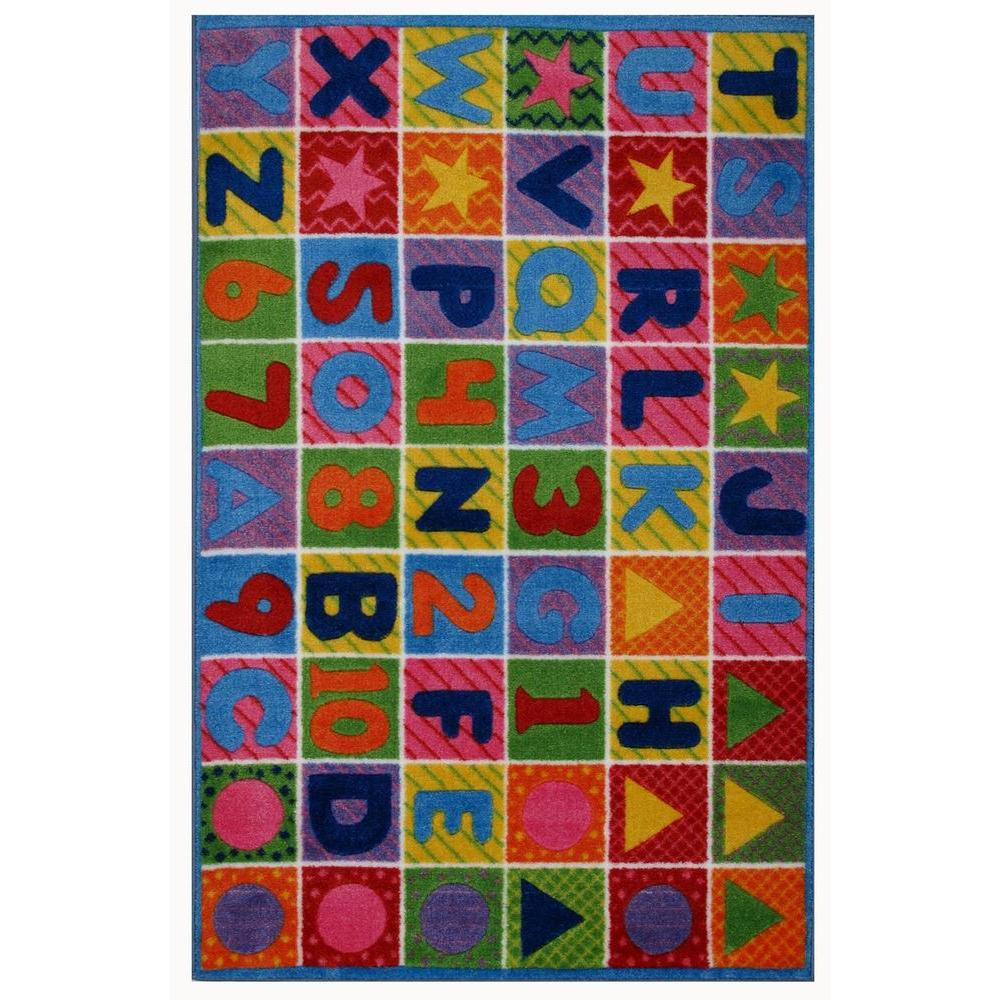 LA Rug Supreme Numbers & Letters, Multi Colored 39 in. x 58 in. Area Rug