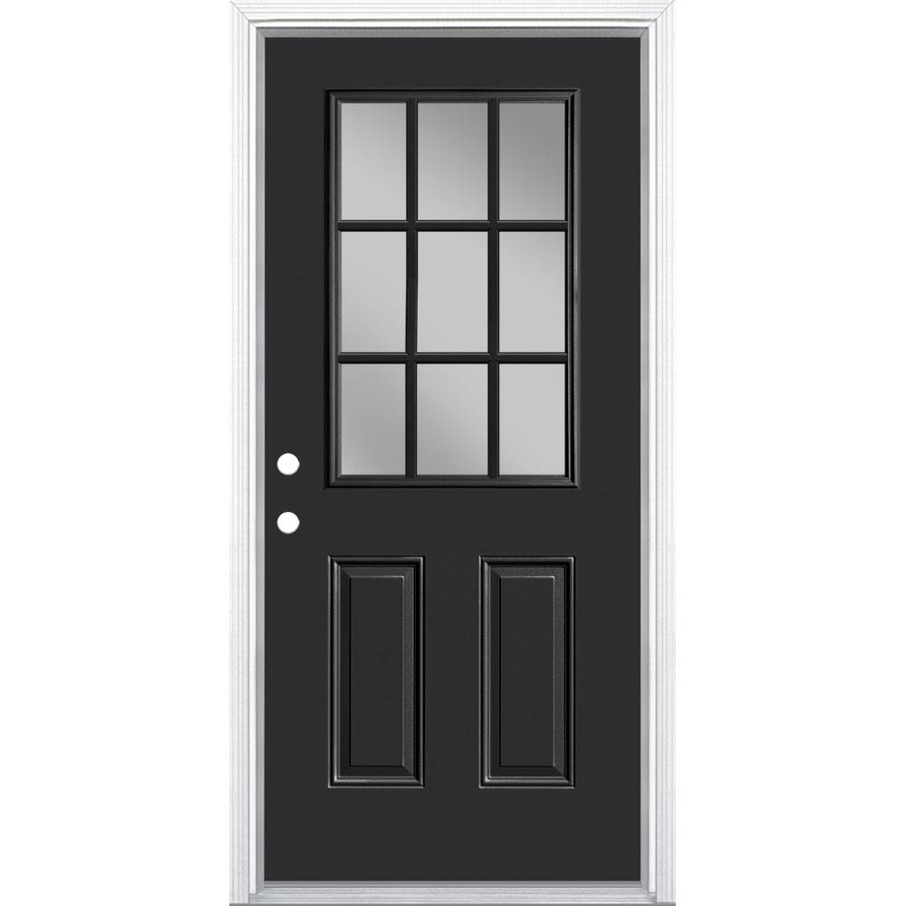 Masonite 36 in. x 80 in. 9 Lite Right-Hand Inswing Painted Steel Prehung Front Exterior Door with Brickmold