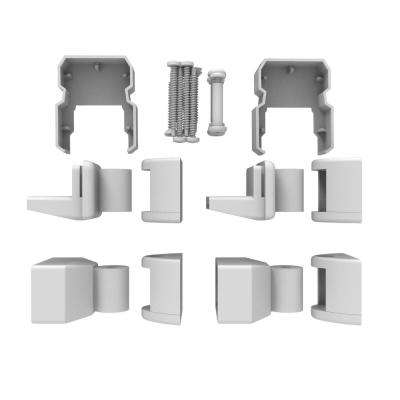 AVALON Aluminum Tristan Angle Bracket Kit in White with 2 Top and 2 Bottom Brackets