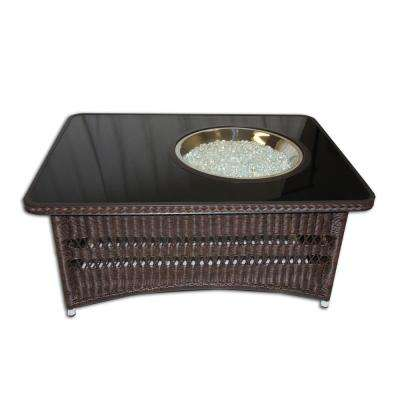 Naples 48 in. x 22 in. Rectangular Wicker Gas Fire Pit Table in Balsam with Black Glass Top and Offset Round Burner