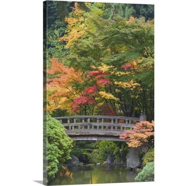 20 In X 30 In Oregon Portland Wooden Bridge Over Pond At Portland Japanese Garden By Don Paulson Canvas Wall Art