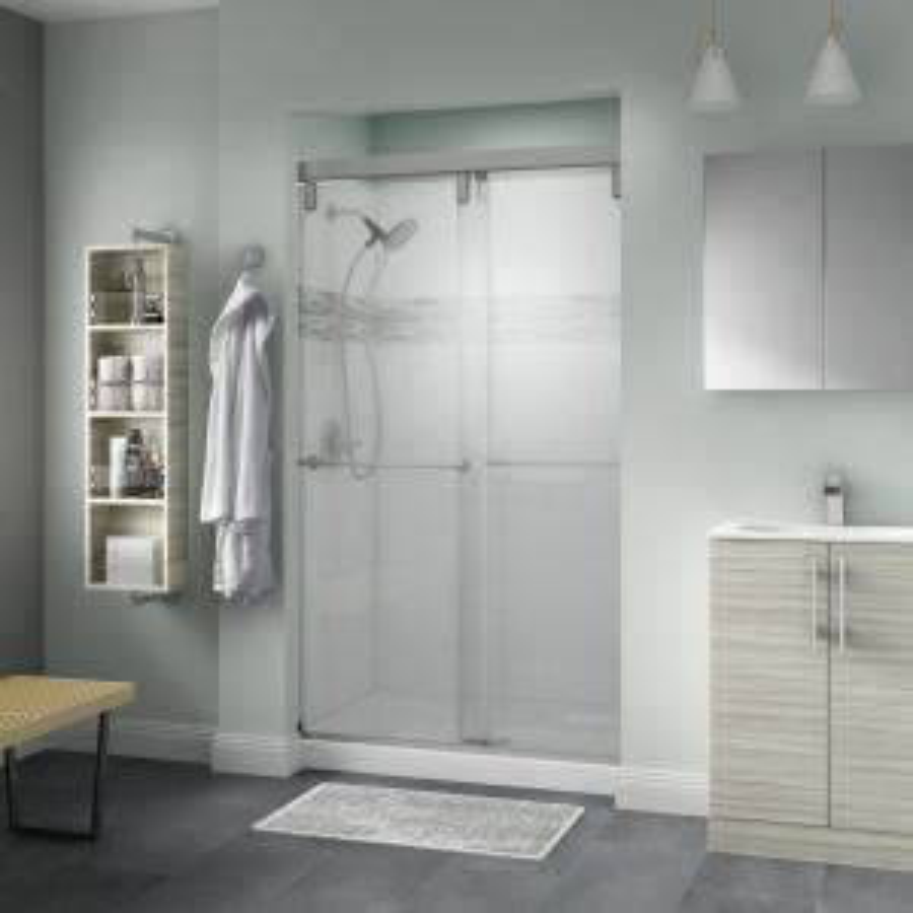 Lyndall 48 in. x 71-1/2 in. Semi-Frameless Mod Sliding Shower Door in Nickel with 3/8 in. (10mm) Niebla Glass