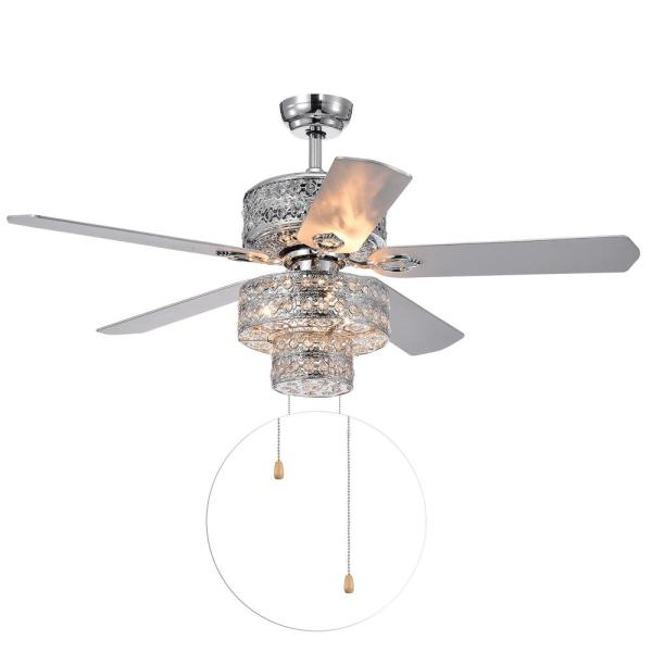 Empire 52 in. Indoor Chrome Finish Hand Pull Chain Ceiling Fan with Light Kit