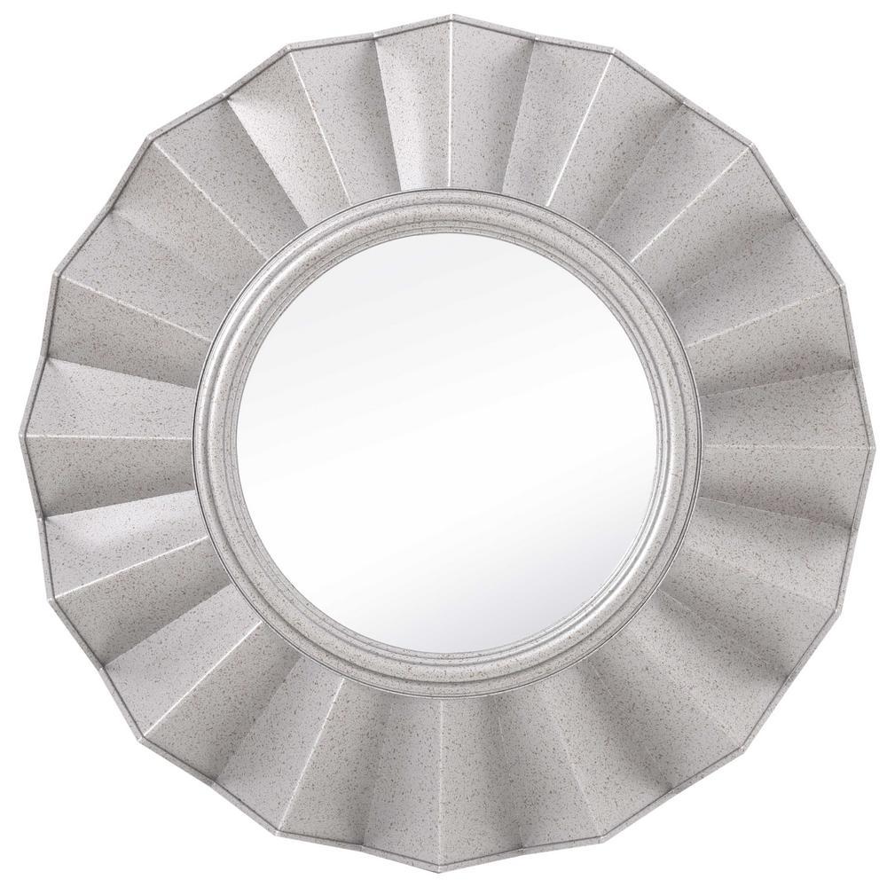 Medium Round Silver Contemporary Mirror (20 in. H x 20 in. W)