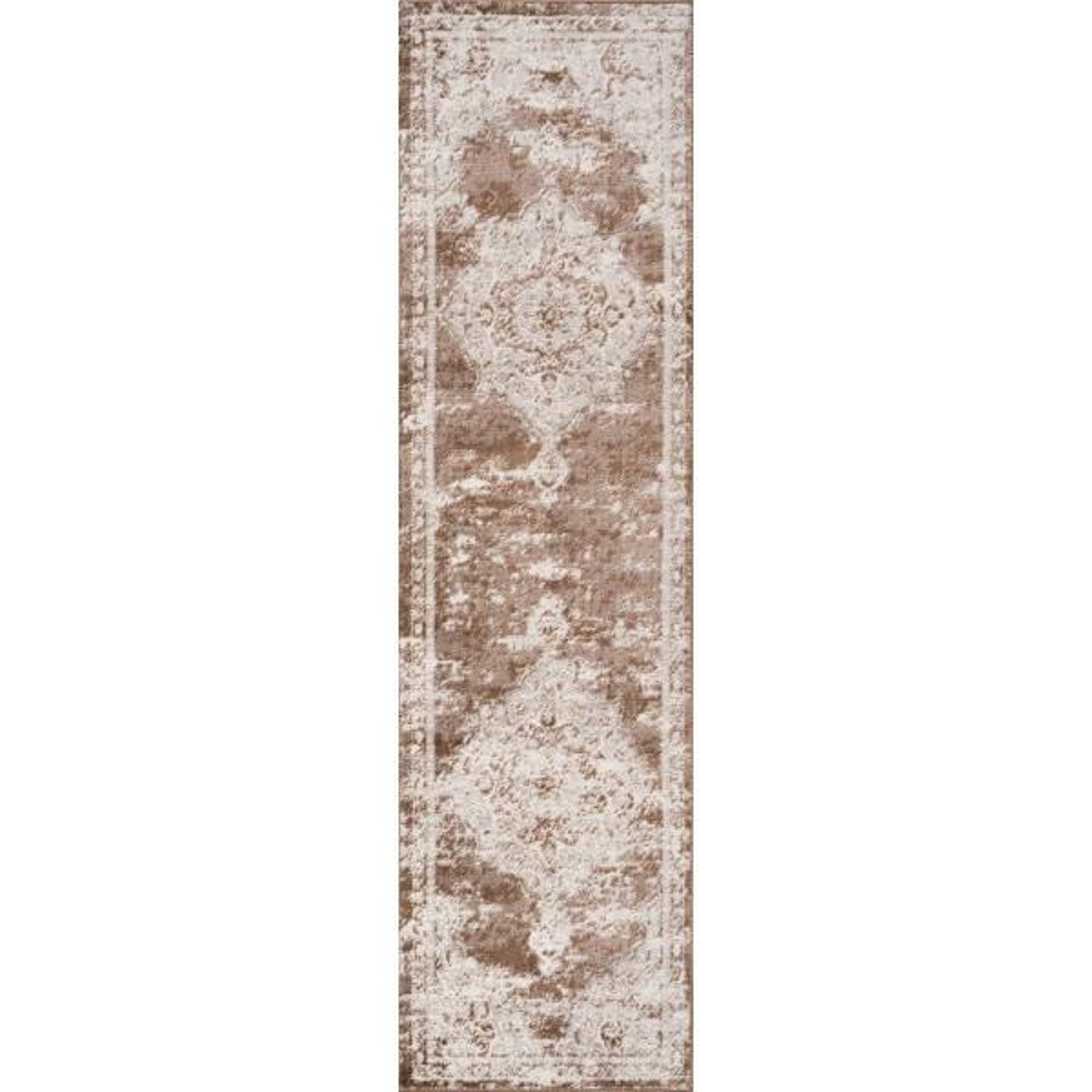 Alhambra Ornate Medallion Modern Brown/Cream 2 ft. x 8 ft. Runner Rug