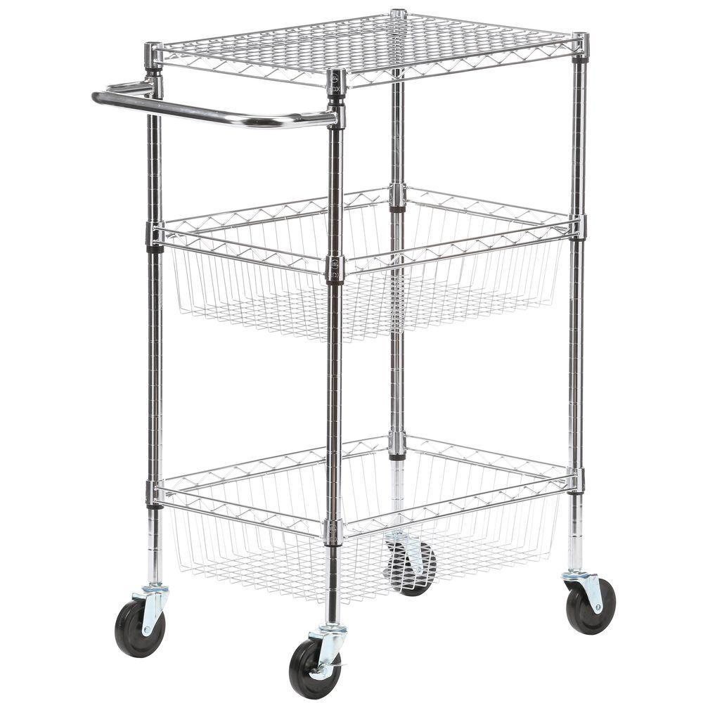 HDX Commercial 30 in. W Steel Basket Kitchen Cart